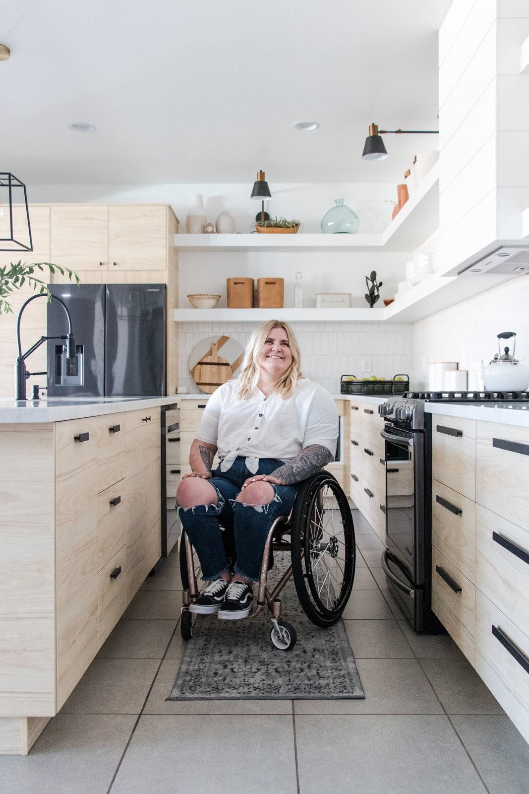 Maegan Blau of Blue Copper Designs in the kitchen she designed for herself.  Photo 7 of 9 in Just How Inclusive Is Accessible Design?