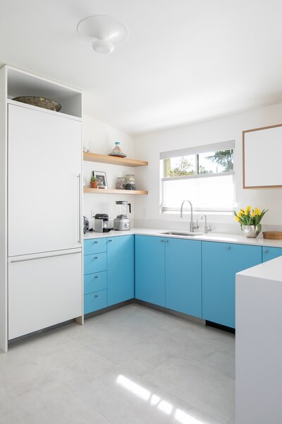 """We had all white cabinets in our NY kitchen and wanted to try something different and more colorful here,"