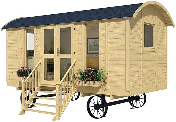The Allwood Mayflower Cabin Kit is available on Amazon and comes on wheels for mobility, but a sister model without wheels is also available.