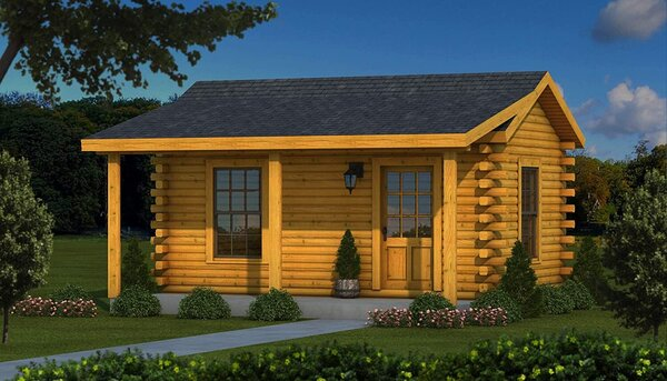 This log cabin kit is ideal as a studio in the woods, a fishing or hunting cabin sitting next to the lake, or even a log cabin get-away.