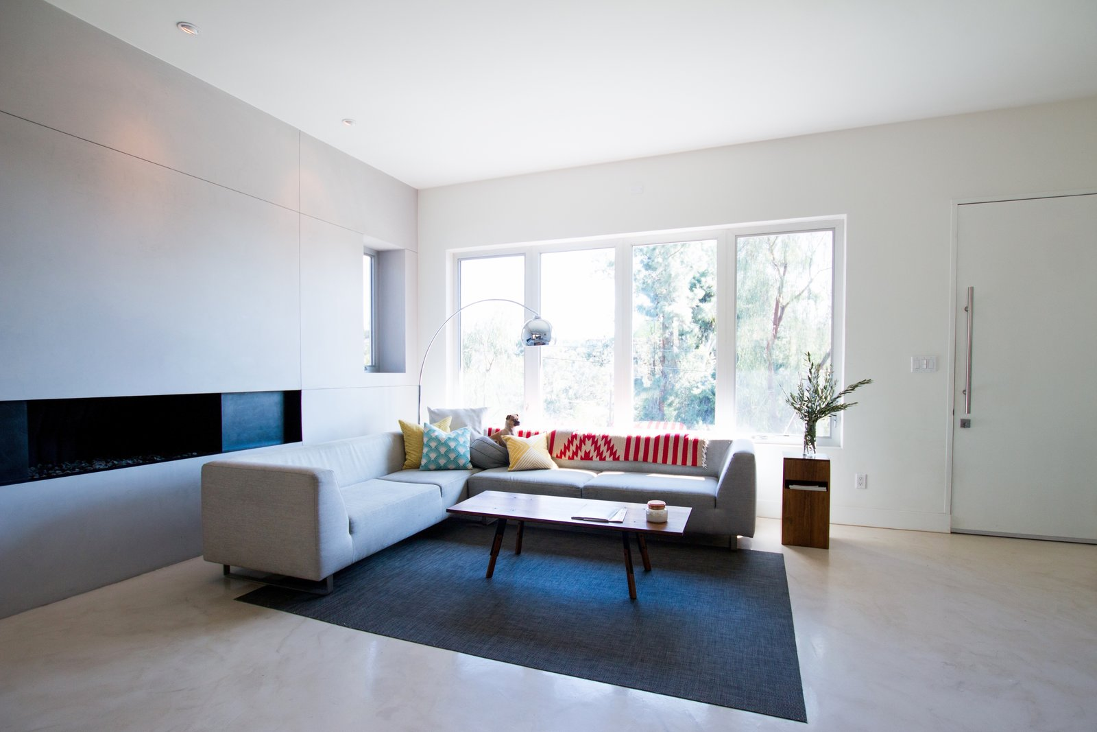 Living Room: Concrete Floors + Linear Gas Fireplace  Edgewood