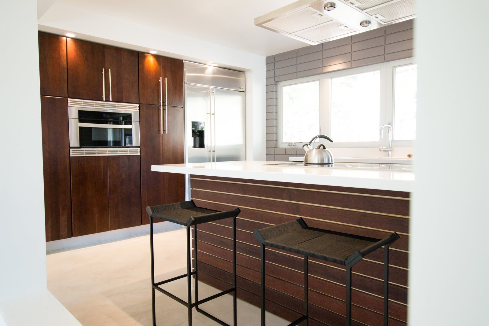 Custom Kitchen: Solid Cherry Casework, Quartz Countertops + Polished Concrete Floors  Edgewood