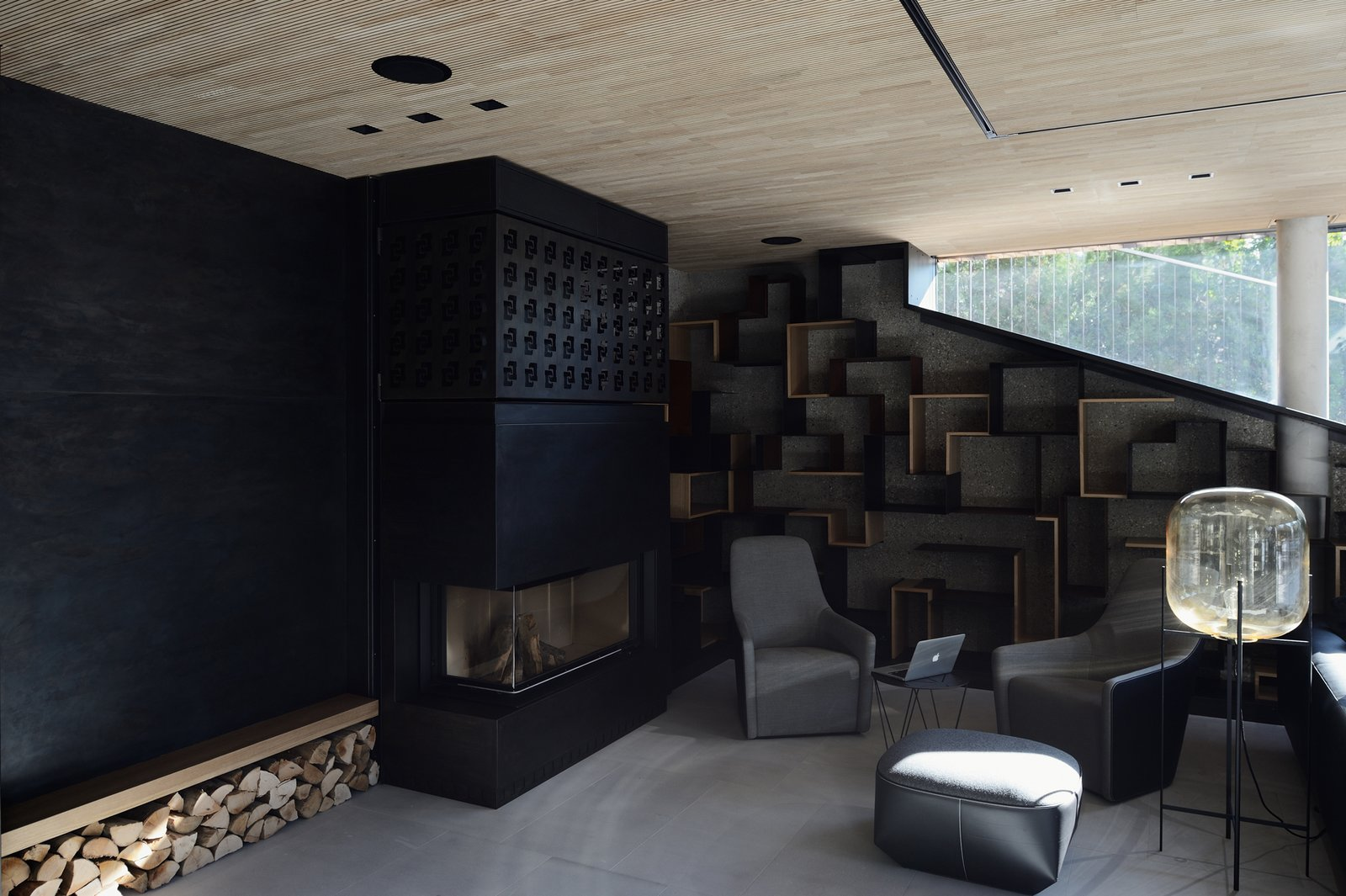 Fireplace and the library  33 by Architect Zoran Bodrozic
