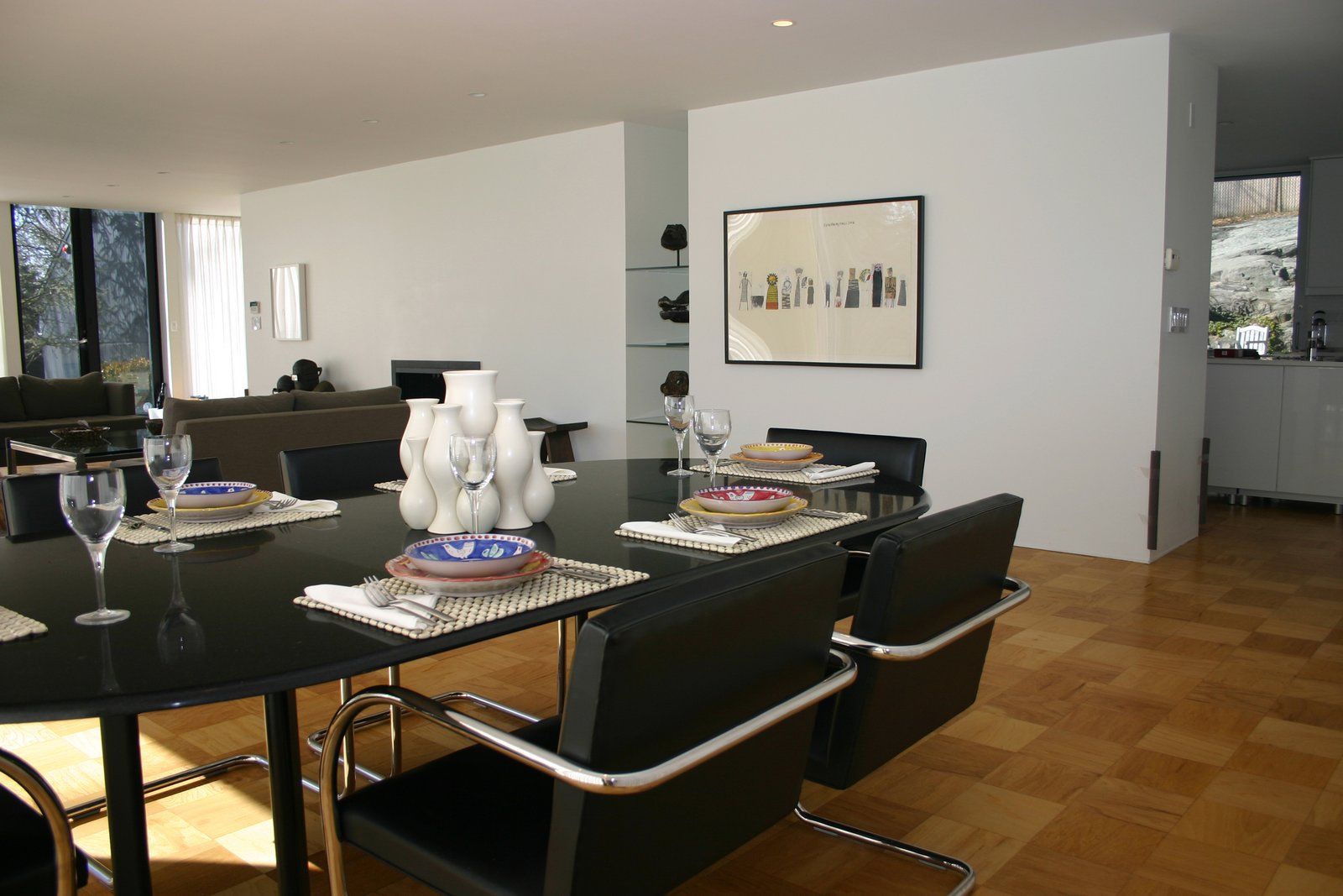 Living / dining area.  Glass House