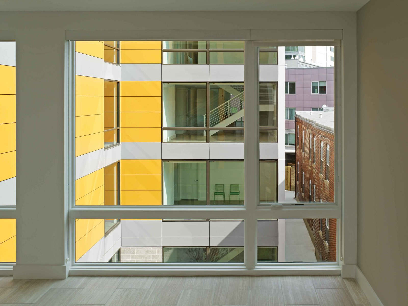 View from unit to interior courtyard  In Living Color by Suzane Reatig Architecture
