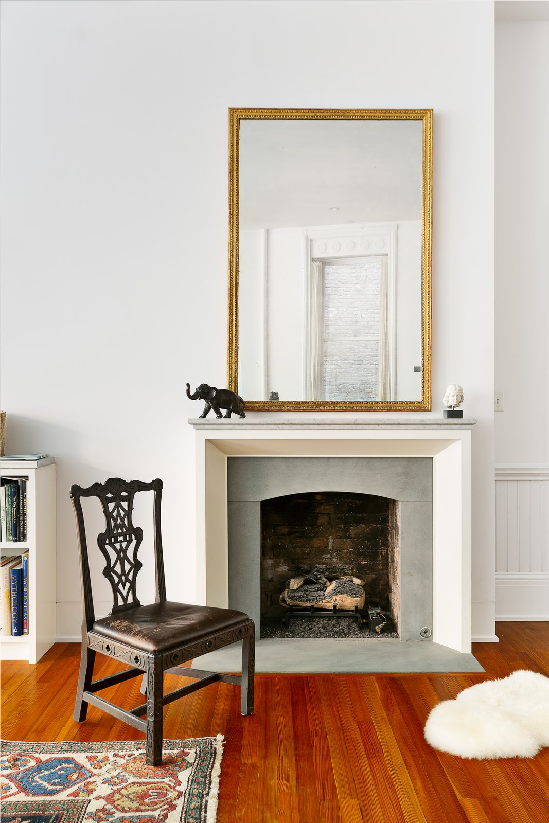 Living Room Stunning decorative fireplace brings warmth to the parlor floor space.  Renovated Co-op in Historic Astor Memorial School