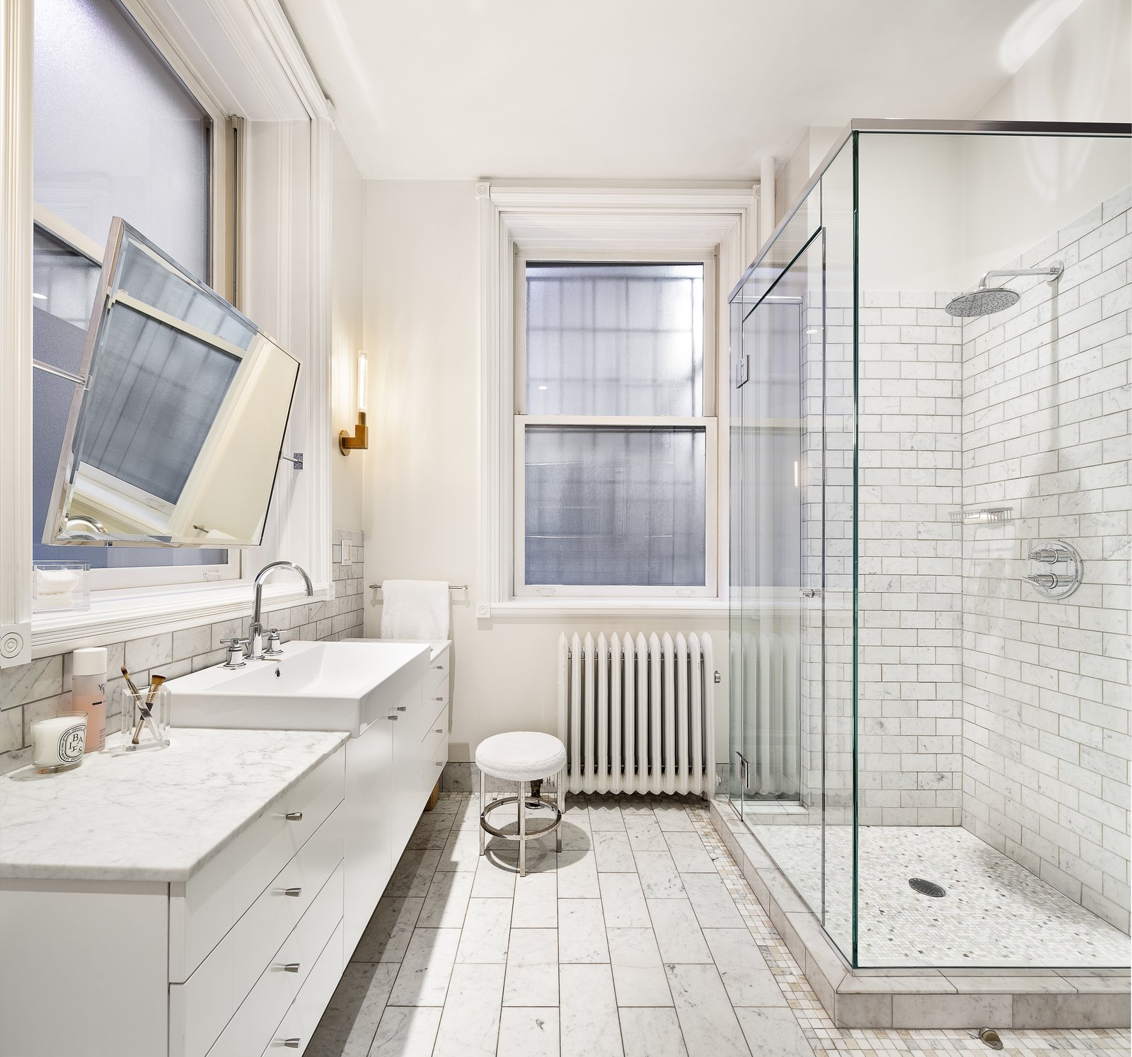 Bath Room, Enclosed Shower, and Drop In Sink The spacious master bath.  Renovated Co-op in Historic Astor Memorial School