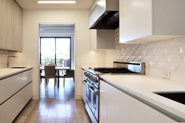Galley kitchen - BlueStar range, Neolith countertops, Santos dimensional rhomboid backsplash tile