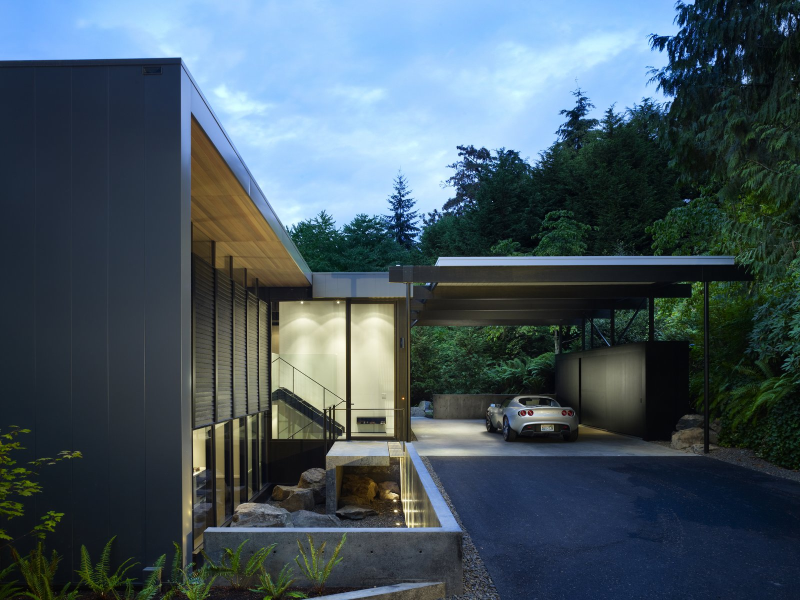 Entry & Carport  Wood Block Residence by chadbourne + doss architects