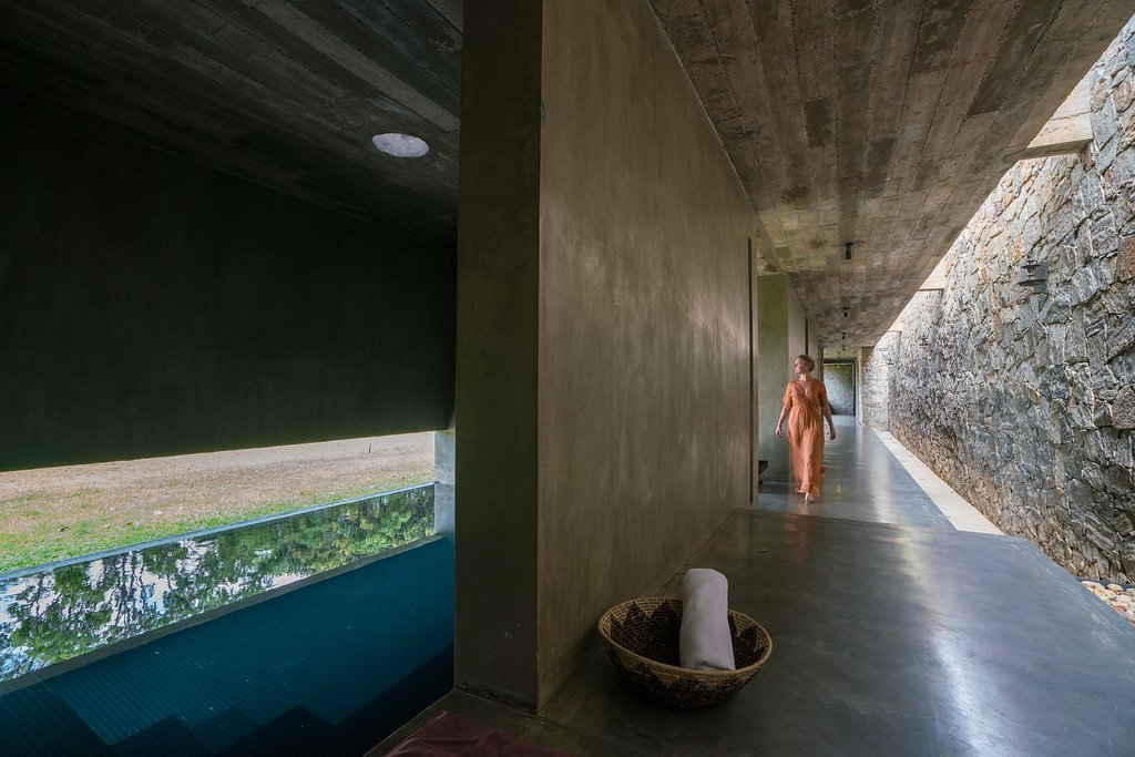 Spa corridor with the Thermal Bath  Santani Wellness Resort and Spa