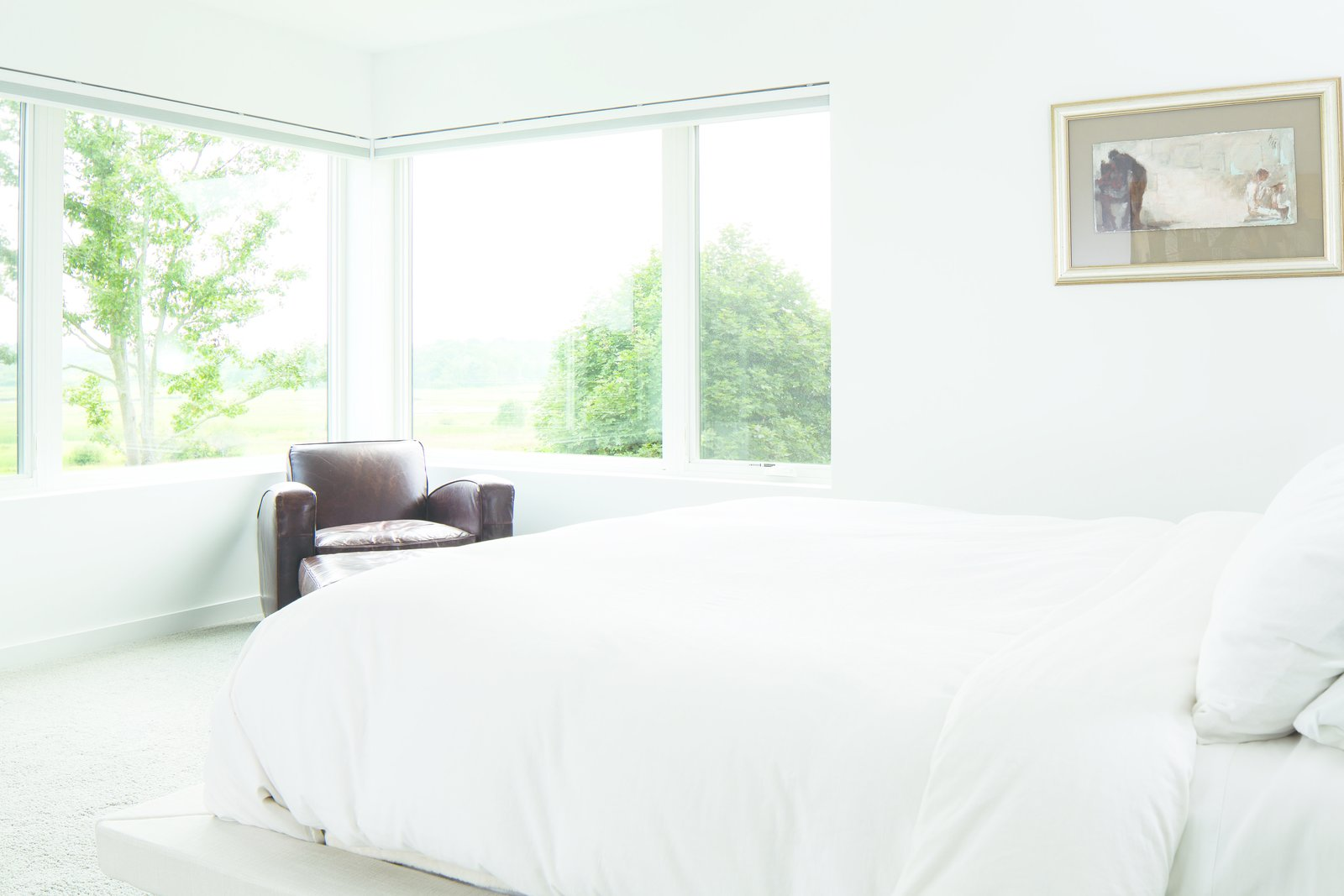 White Bedroom - where the view is the accent wall  Modern On The Marsh