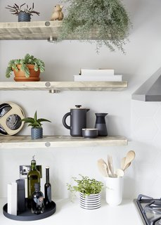 Timber shelves made from reclaimed scaffold boards.