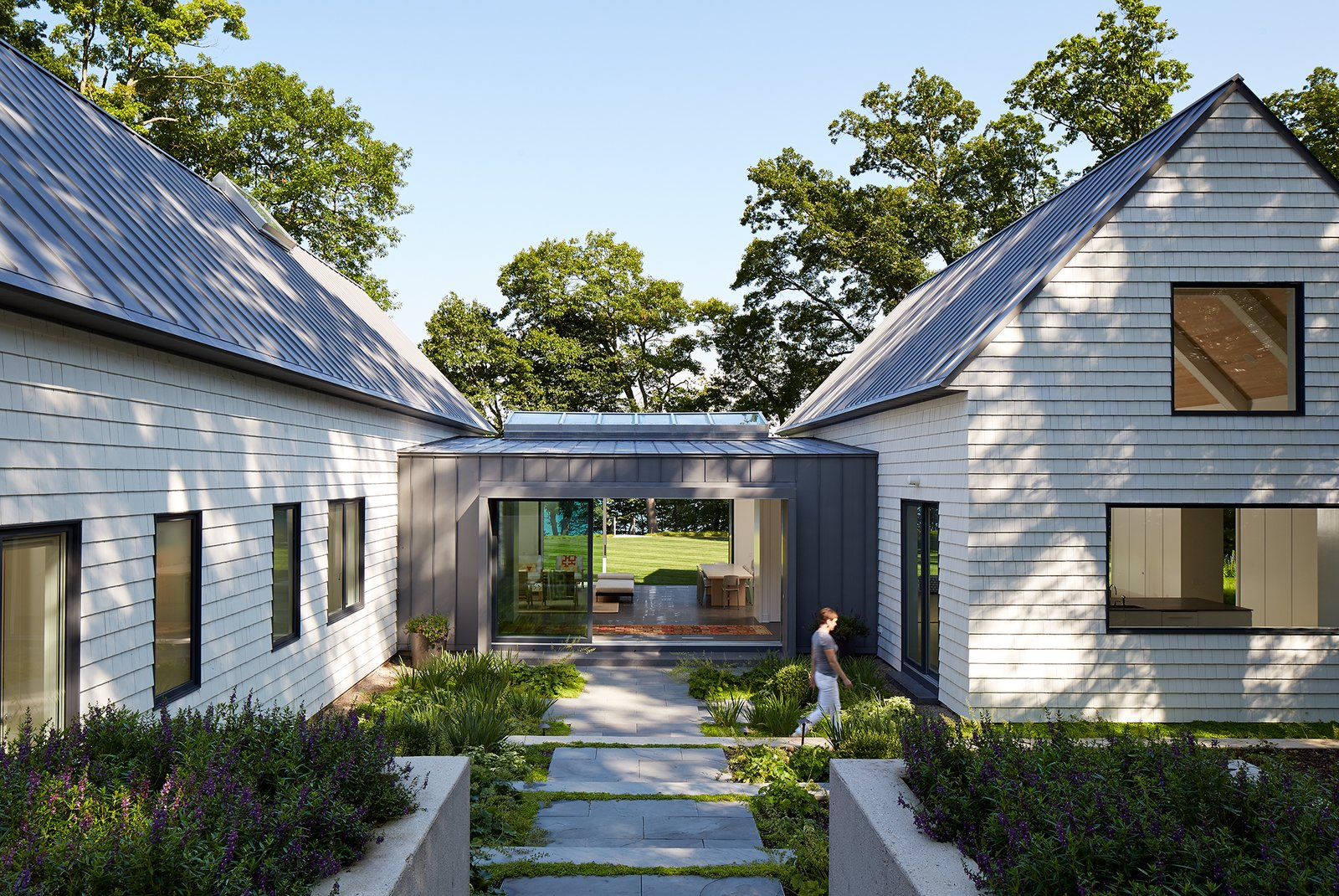 Entry Landscape  New Buffalo Residence by Booth Hansen