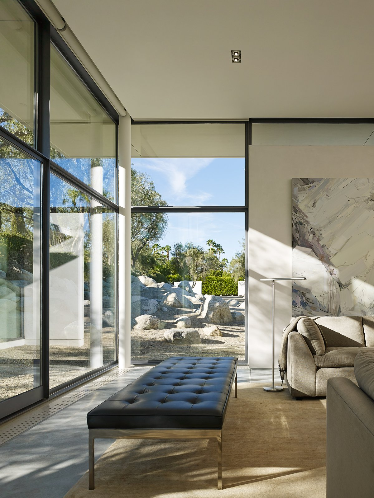 Family Room / View Towards Entry Gate  Palm Springs House by Booth Hansen