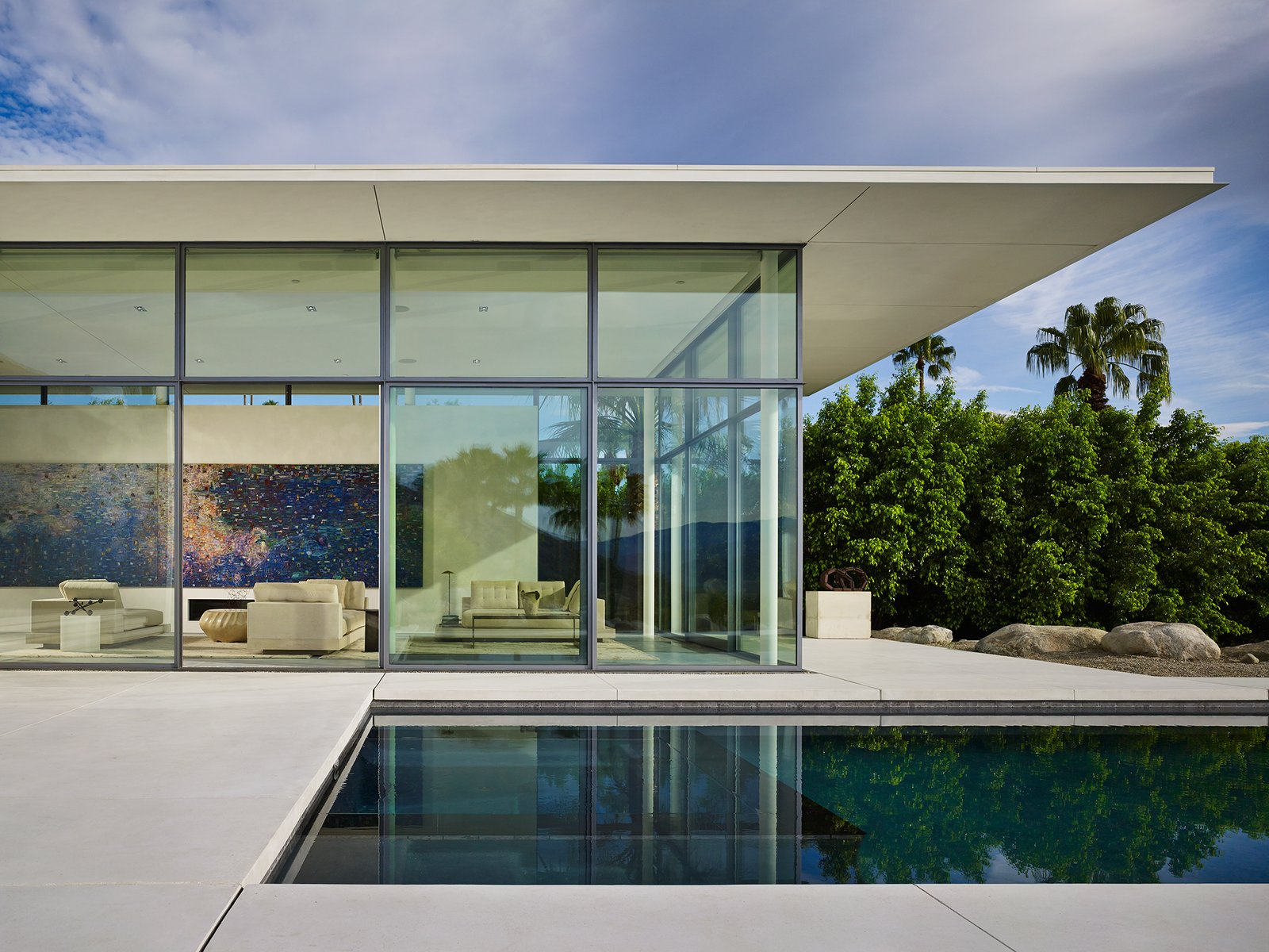 View Towards Living Room from Front Terrace  Palm Springs House by Booth Hansen