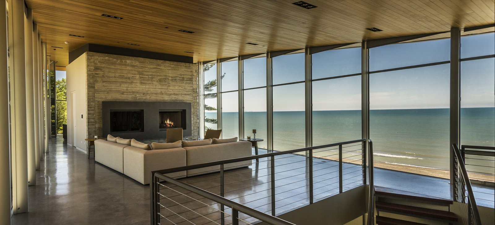Living Room / View Towards Lake Michigan  Beverly Shores Residence by Booth Hansen