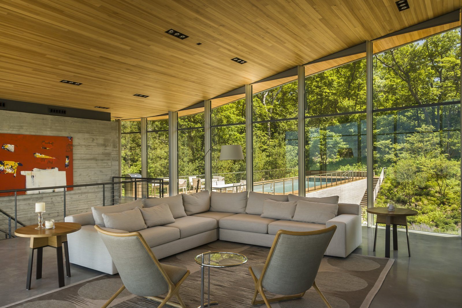 Living Room / View Towards Woods  Beverly Shores Residence by Booth Hansen