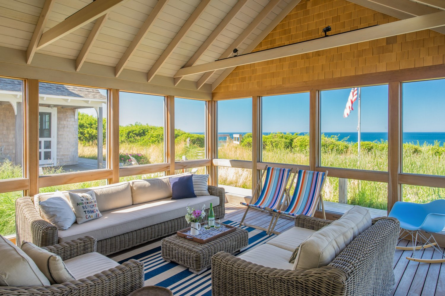 A spacious three-sided screened porch, conveniently located adjacent to the living/dining/kitchen area, is nestled on the edge of a dune overlooking the refreshing waters of Cape Cod Bay.  Corkin House