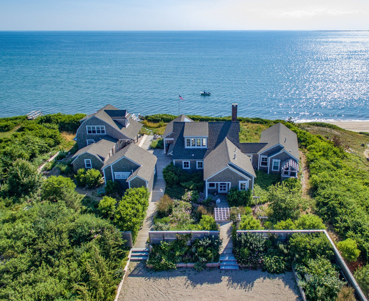 Aerial view of the compound overlooking Cape Cod Bay.  Corkin House