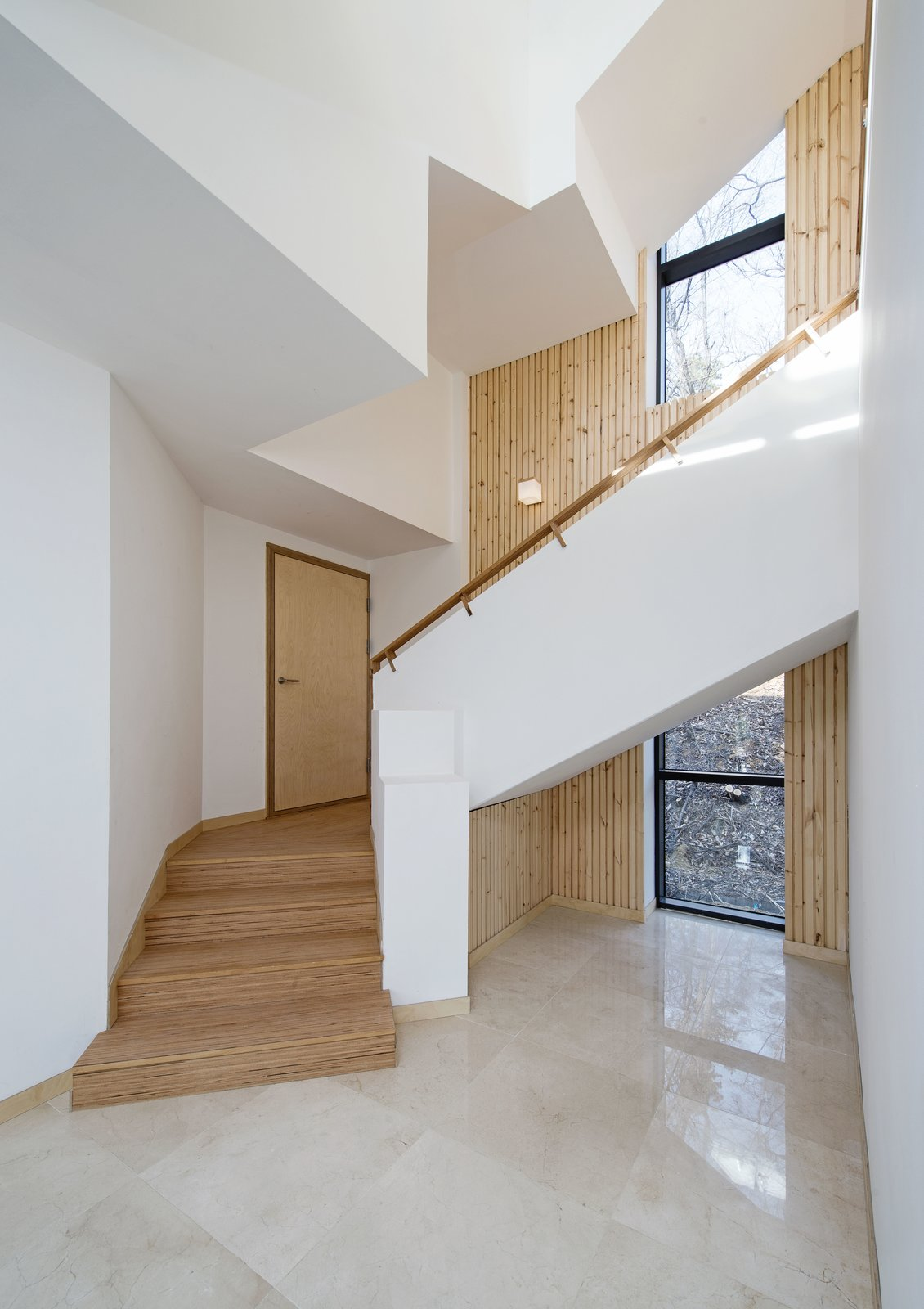 Stair 1 Tagged: Staircase, Wood Railing, and Wood Tread.  A House by Chang Kyu Lee