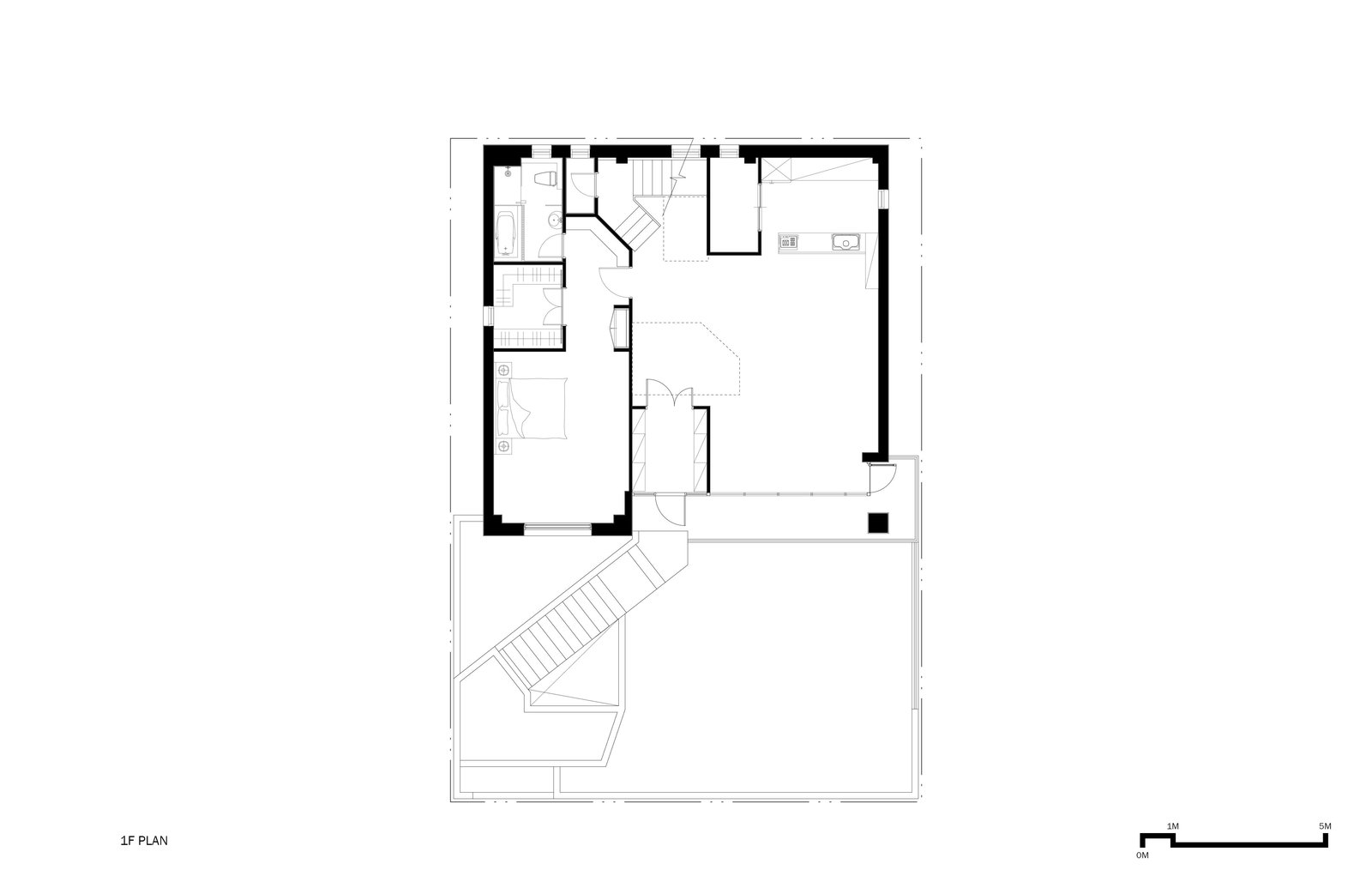 1F Plan  A House by Chang Kyu Lee