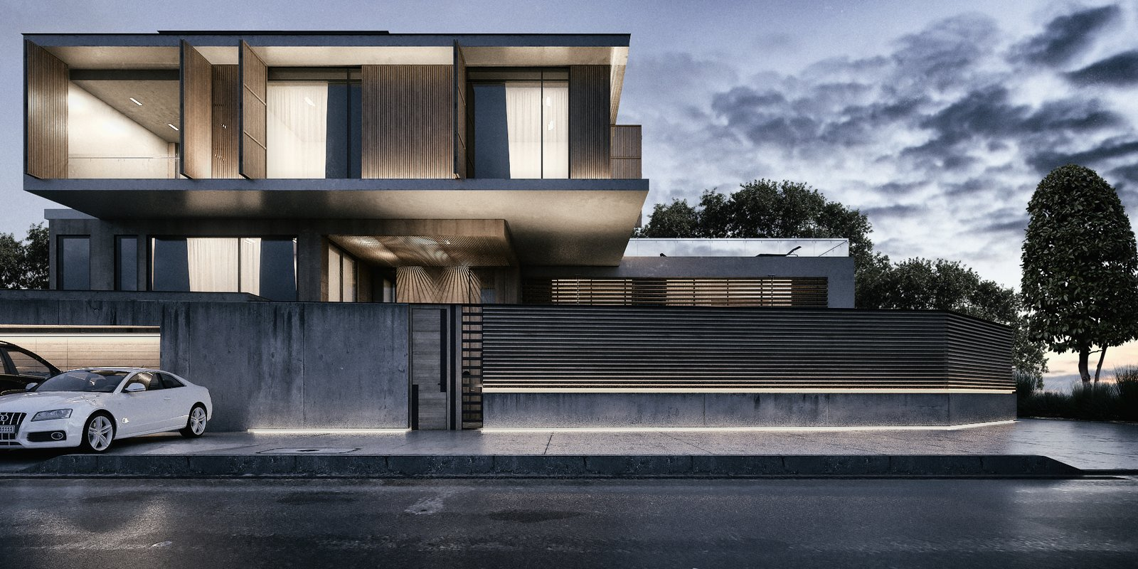 Front View of the Villa   Monochrome Veil by Lines Design Creation and Consultancy