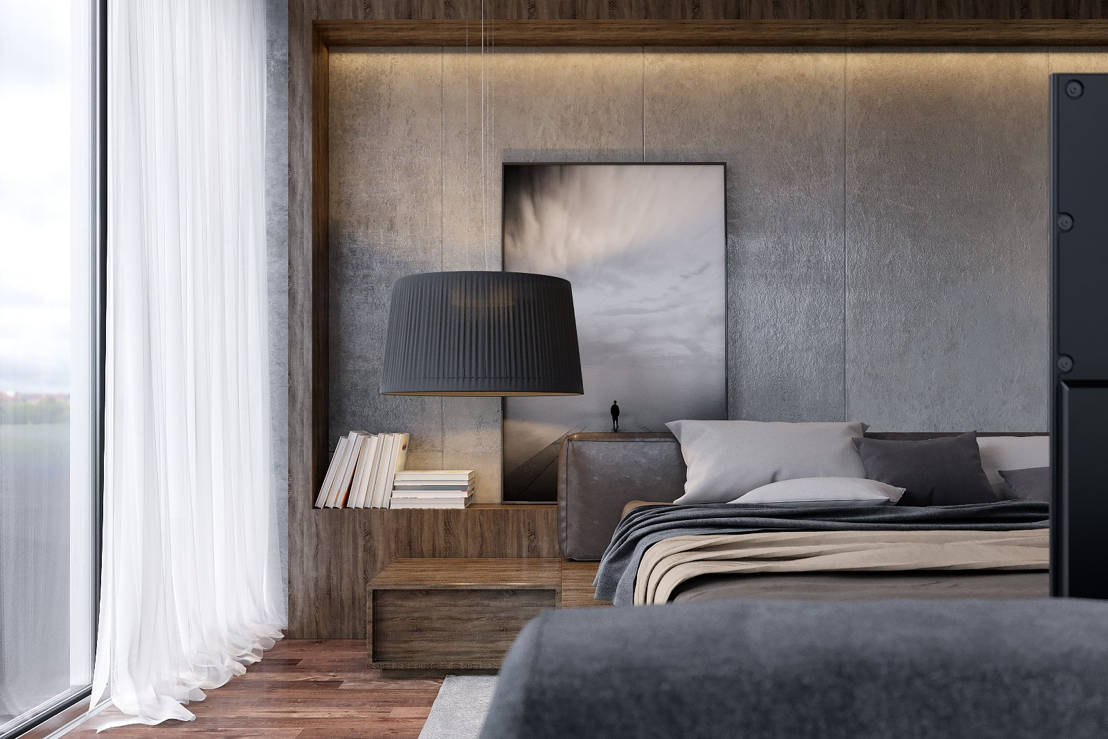 Master Bedroom   Monochrome Veil by Lines Design Creation and Consultancy