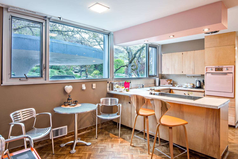 Kitchen, Ceiling Lighting, Laminate Counter, Refrigerator, Range Hood, Recessed Lighting, Wood Cabinet, Drop In Sink, Wall Oven, and Vinyl Floor Kitchen   An Eduard Dreier Home asked $1.2M