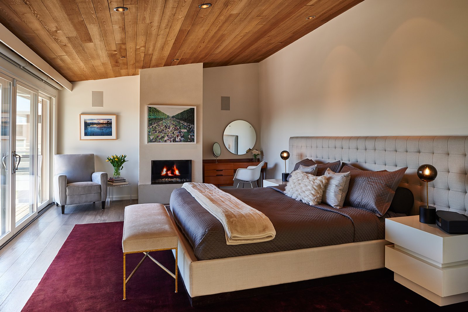 Mid-century, master bedroom with a view  Clyde Hill Mid-Century by Garret Cord Werner