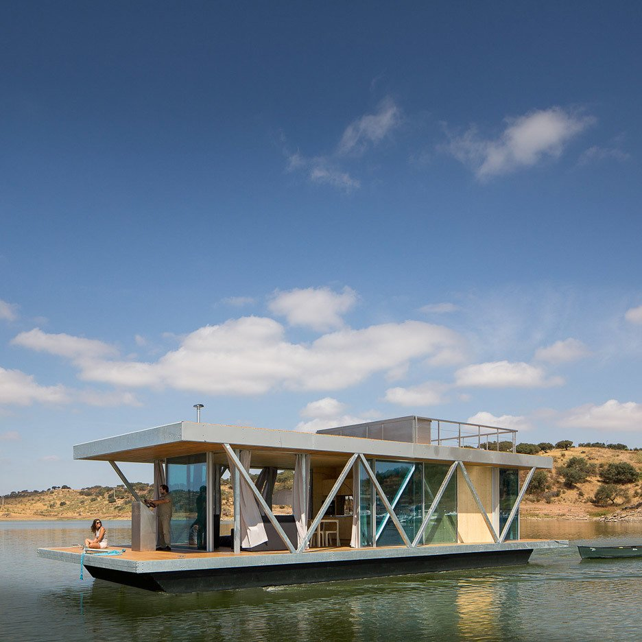 Exterior, Glass Siding Material, Metal Siding Material, Flat RoofLine, and Boathouse Building Type A team from the University of Coimbra in Portugal designed 'Floatwing'  Photo 5 of 11 in 10 Modern Floating Homes That Offer an Aquatic Lifestyle