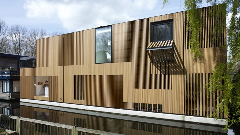 floating homes multilevel floating home with slatted wood exterior