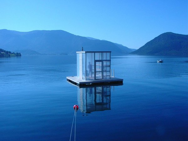 Designed by Marco Casagrande, this floating sauna was a gift for the Rosendal community, a village at the end of the majestic Hardangerfjord in Norway.
