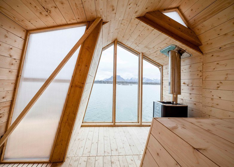 Shed & Studio The ribbon-like design affords the building three different gabled roof profiles – one is symmetrical, while the other two lean in opposite directions.  Photo 11 of 11 in Escape to One of These 10 Otherworldly Outdoor Saunas