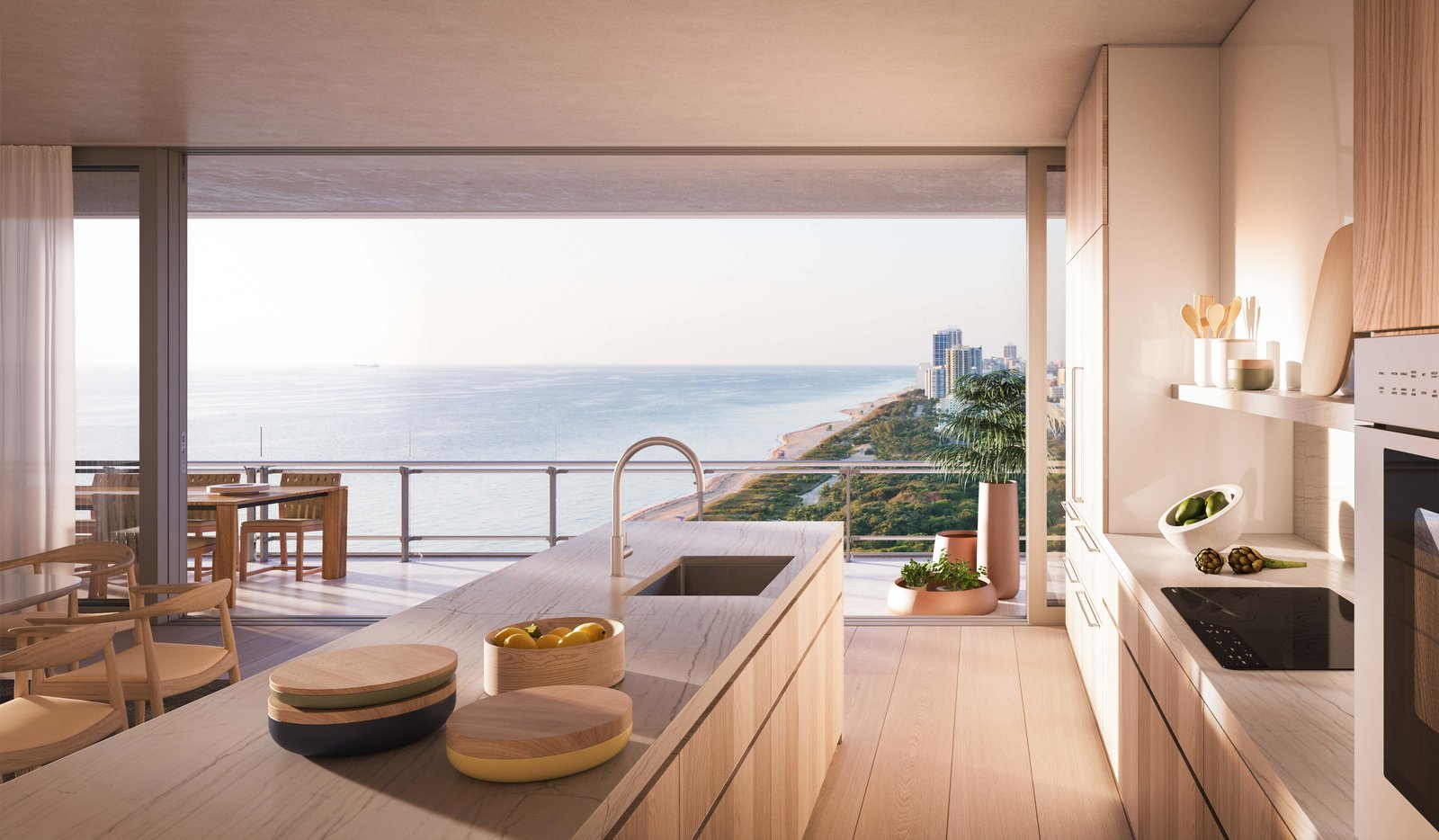 Kitchen Throughout the interior, window frames are sunk into the floor and ceiling, erasing the sense of space between inside and outside.  Photo 5 of 8 in Sneak Peek of Renzo Piano's New Stunning Oceanfront Condominiums in Miami's North Beach