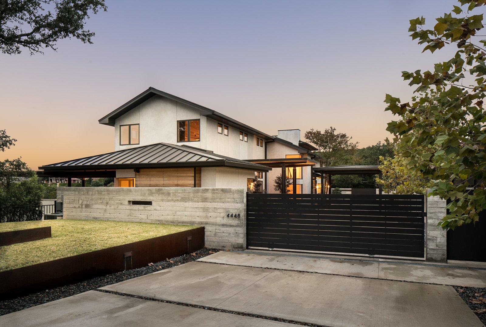 Outdoor, Front Yard, and Grass Exterior - driveway  River Garden Trail Residence by Texas Construction Company