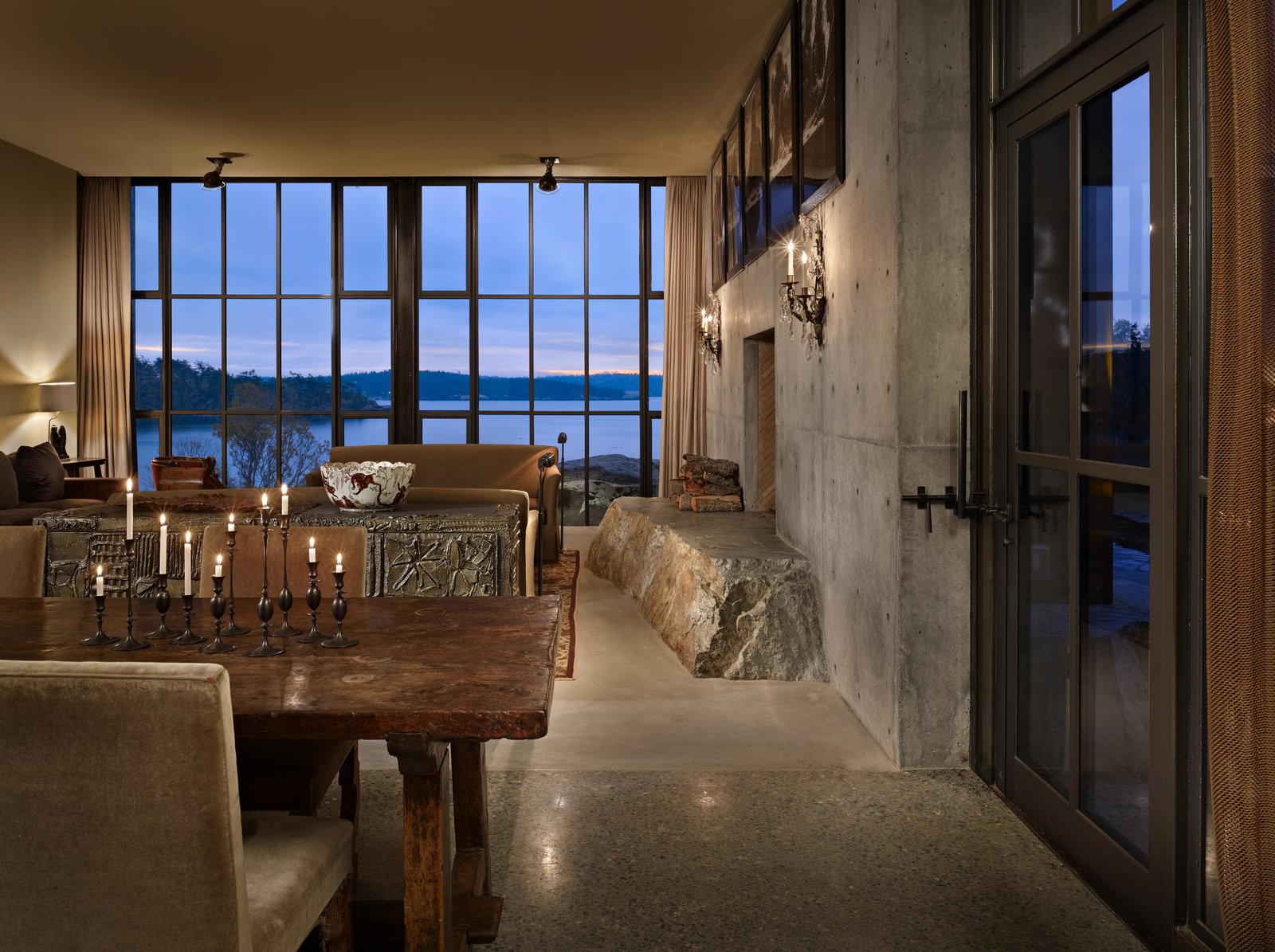 Dining, Bench, Concrete, Table, Standard Layout, Wall, Ceiling, Chair, and Wood Burning The Pierre | Olson Kundig  Best Dining Wood Burning Wall Bench Photos from The Pierre