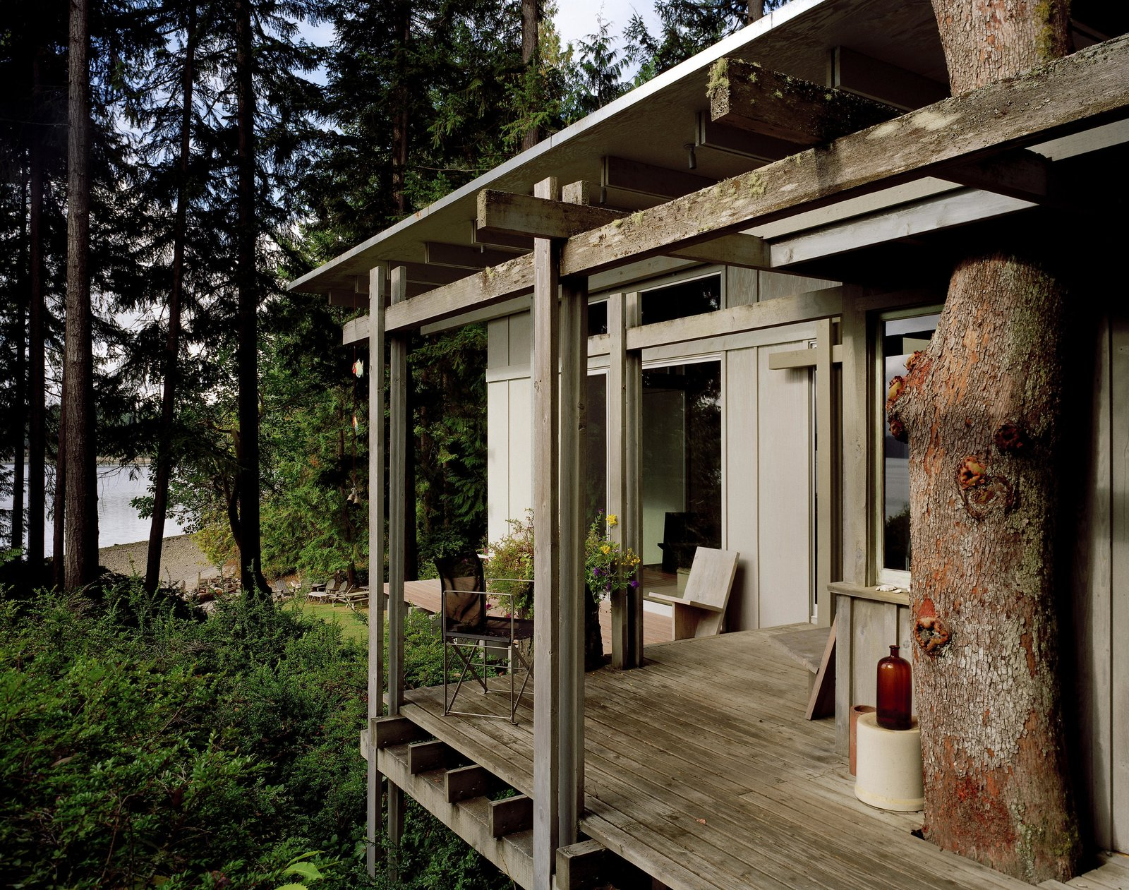 Outdoor and Small Patio, Porch, Deck Cabin at Longbranch | Olson Kundig  Cabin in Longbranch
