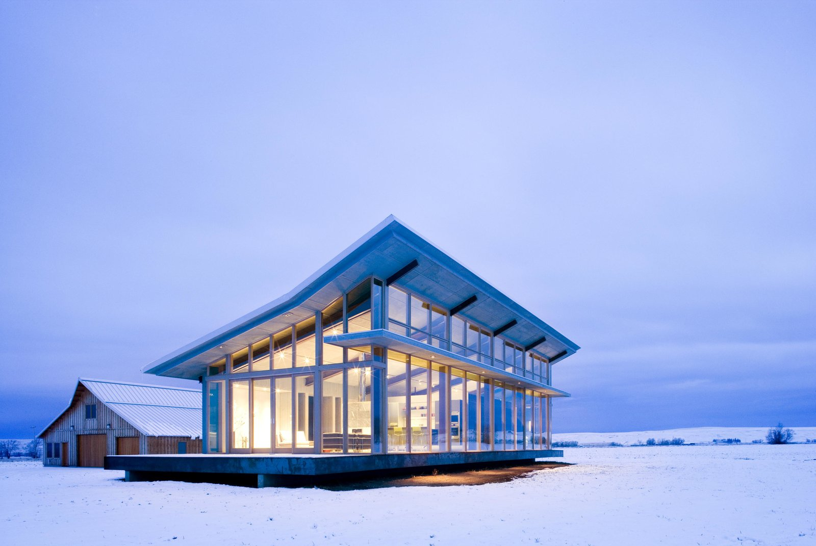 Exterior, House Building Type, Cabin Building Type, Shed RoofLine, and Glass Siding Material Glass Farmhouse | Olson Kundig  Glass Farmhouse by Olson Kundig