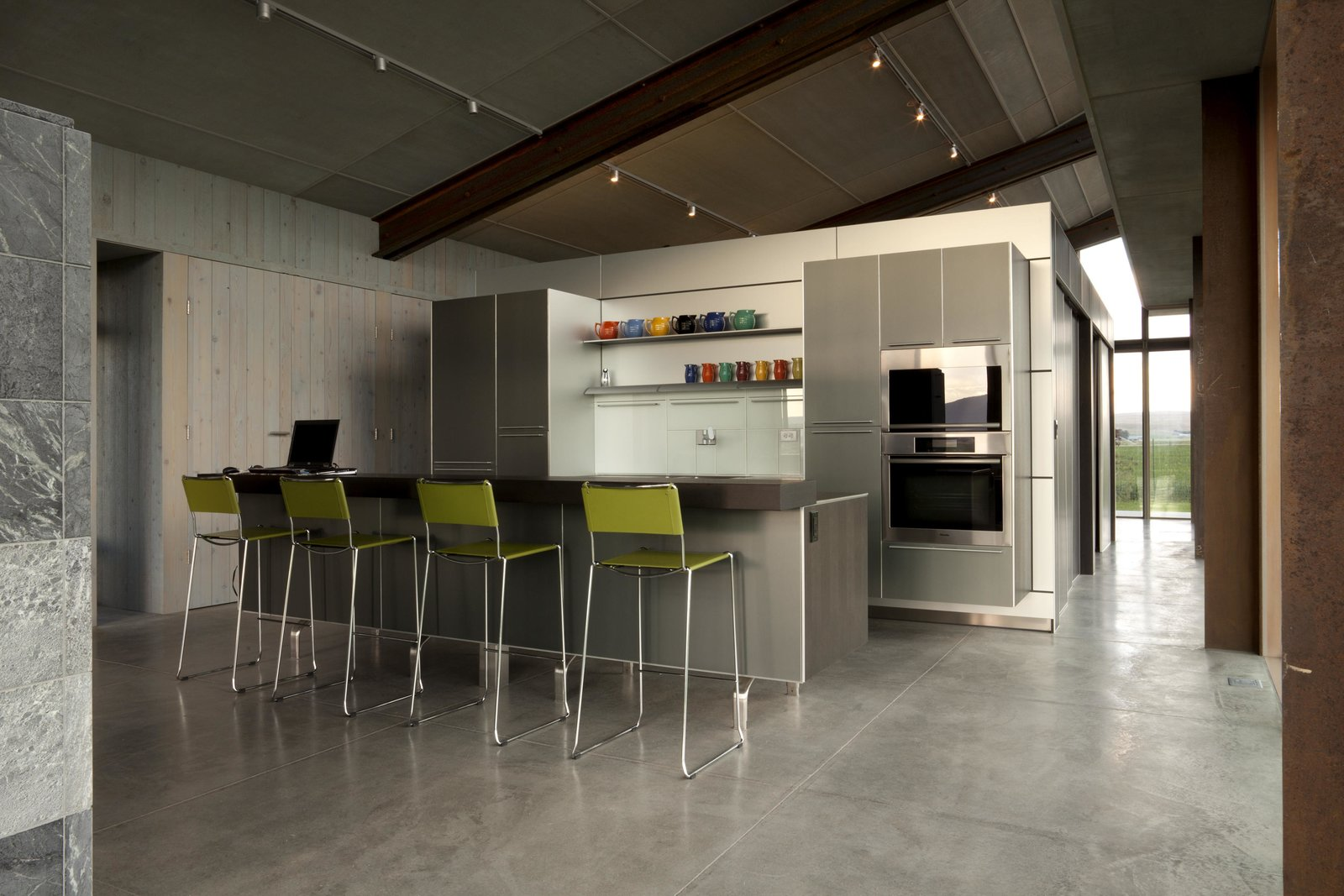 Kitchen, Metal Cabinet, and Wall Oven Glass Farmhouse | Olson Kundig  Glass Farmhouse by Olson Kundig