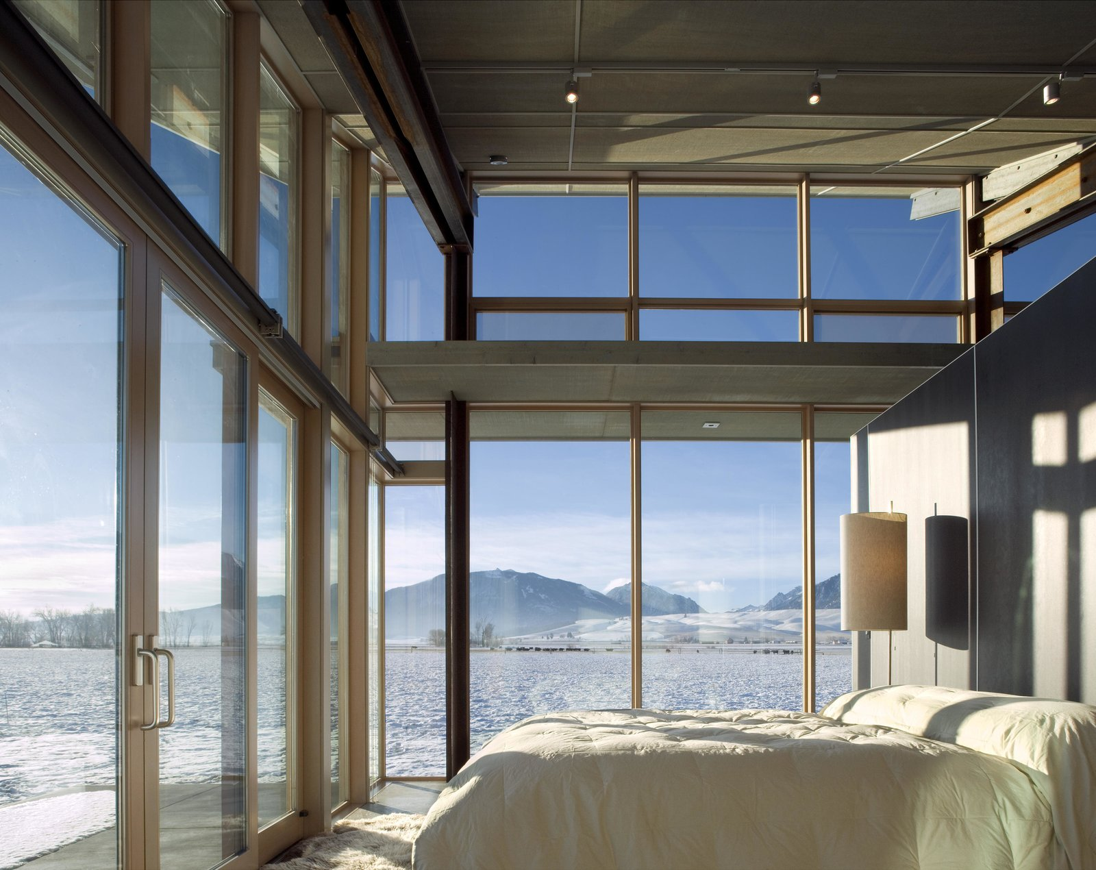 Bedroom, Bed, and Floor Lighting Glass Farmhouse | Olson Kundig  Glass Farmhouse by Olson Kundig