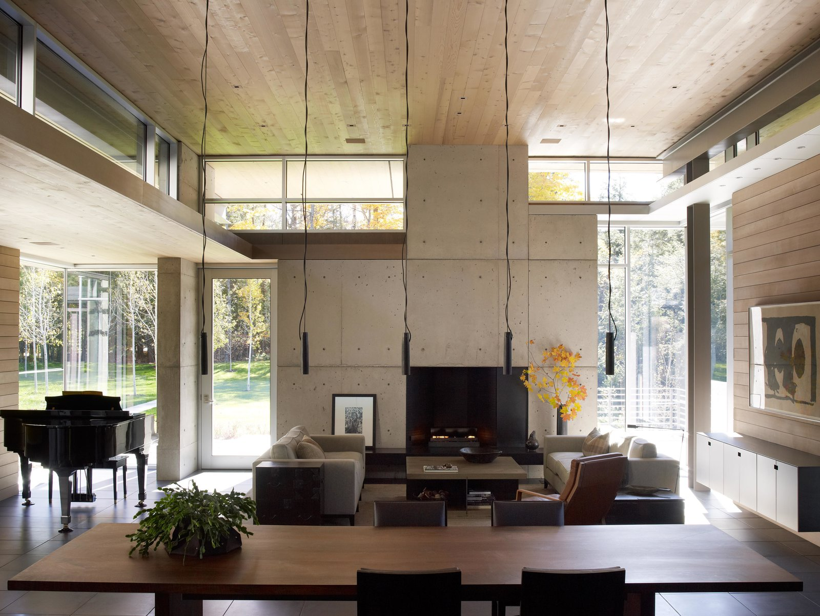 Exterior, Wood, Coffee Tables, Garden, Pendant Lighting, Ceiling Lighting, Sofa, Metal, and Living Room Northwoods House  Northwoods House by Olson Kundig