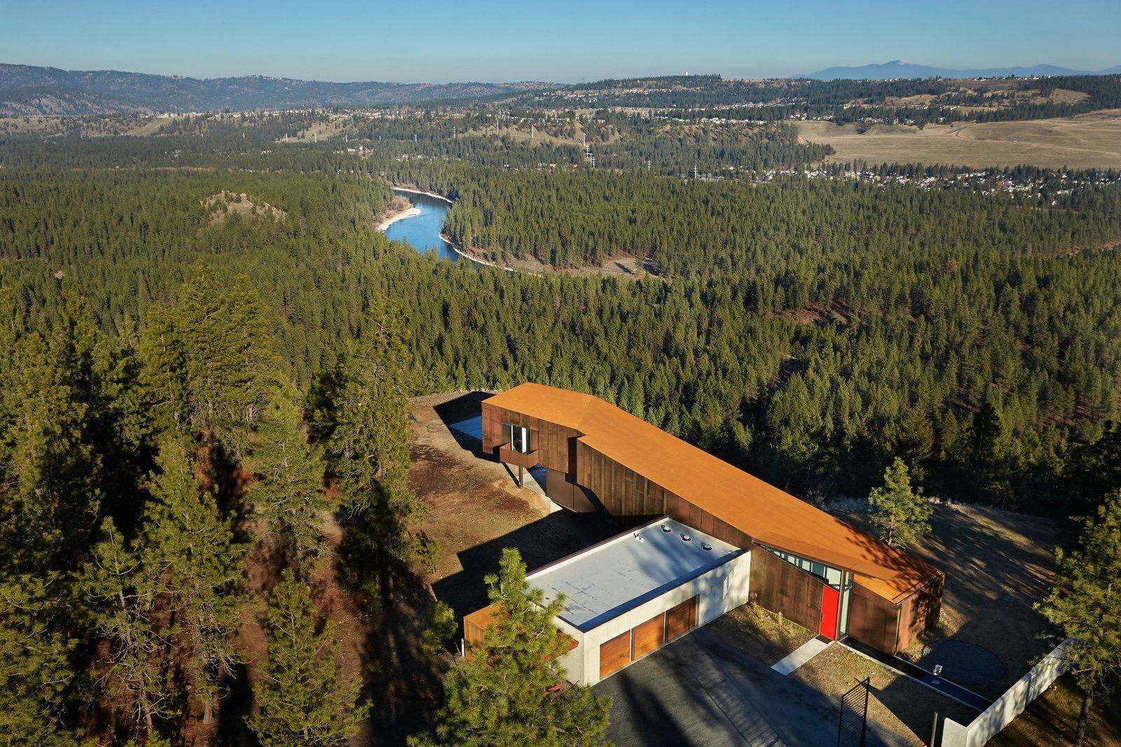 Exterior, House Building Type, and Metal Siding Material Rimrock | Olson Kundig  Rimrock by Olson Kundig