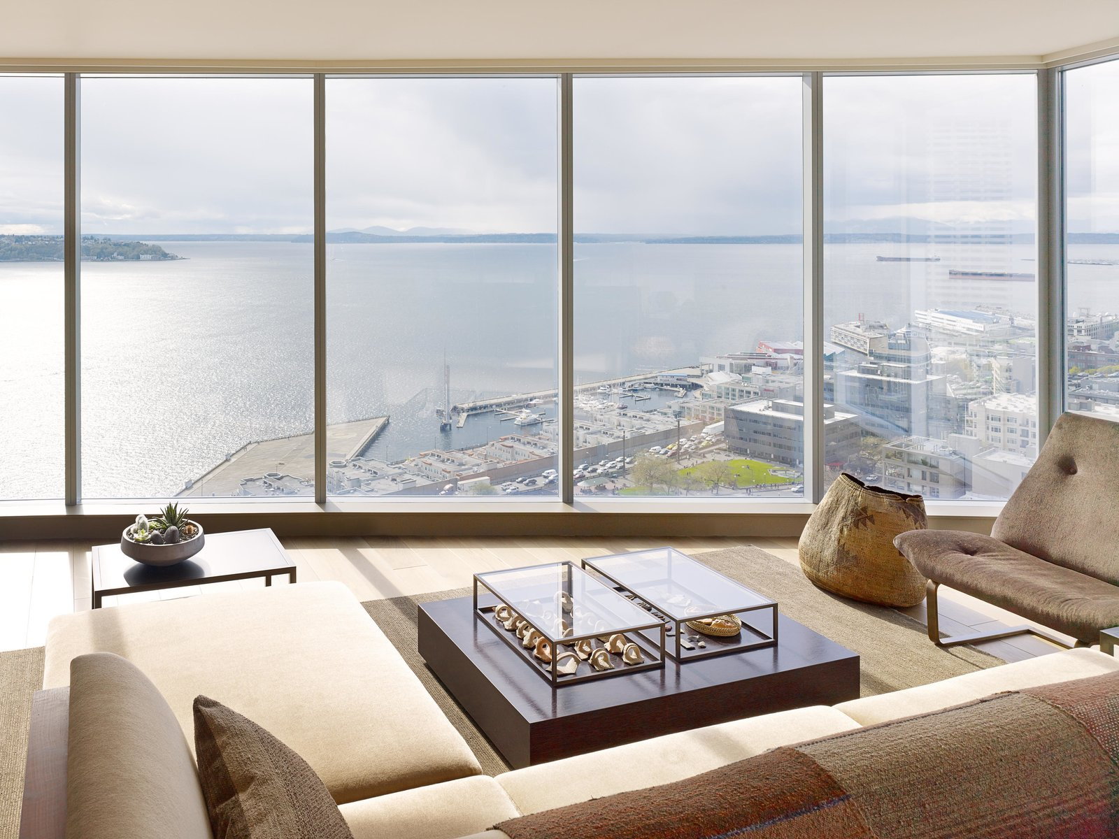 Living Room, Sectional, Sofa, End Tables, Light Hardwood Floor, and Rug Floor Haven of Reflection | Olson Kundig  Haven of Reflection by Olson Kundig