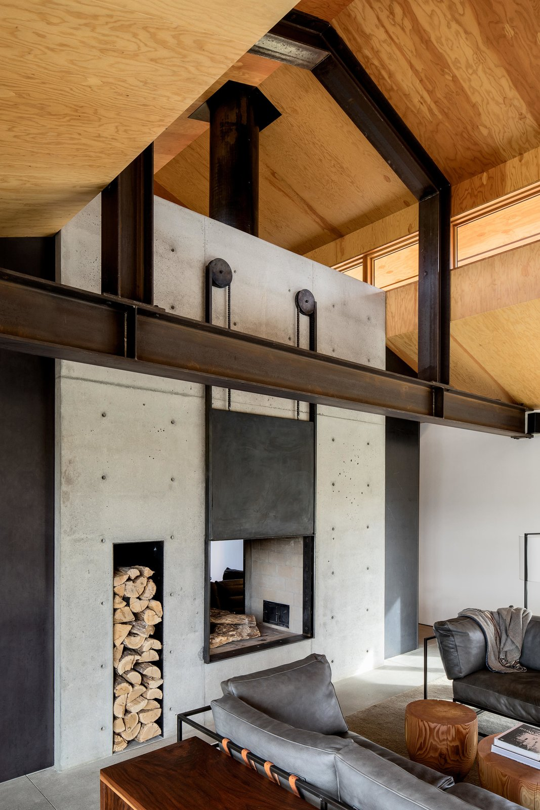 Living, Concrete, Sofa, Two-Sided, Wood Burning, Coffee Tables, Console Tables, and Rug Trout Lake | Olson Kundig  Best Living Two-Sided Sofa Photos
