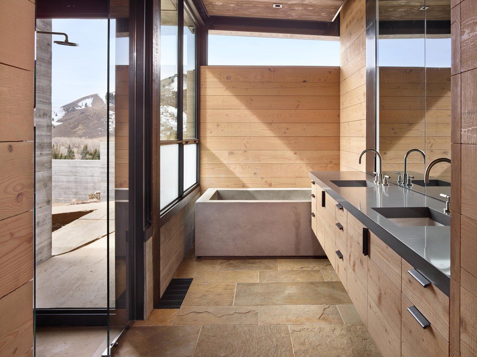 Bath Room, Recessed Lighting, Drop In Sink, Freestanding Tub, and Enclosed Shower Bigwood Residence | Olson Kundig  Photo 3 of 5 in Top 4 Homes of the Week With Spa-Like Bathrooms from Bigwood Residence
