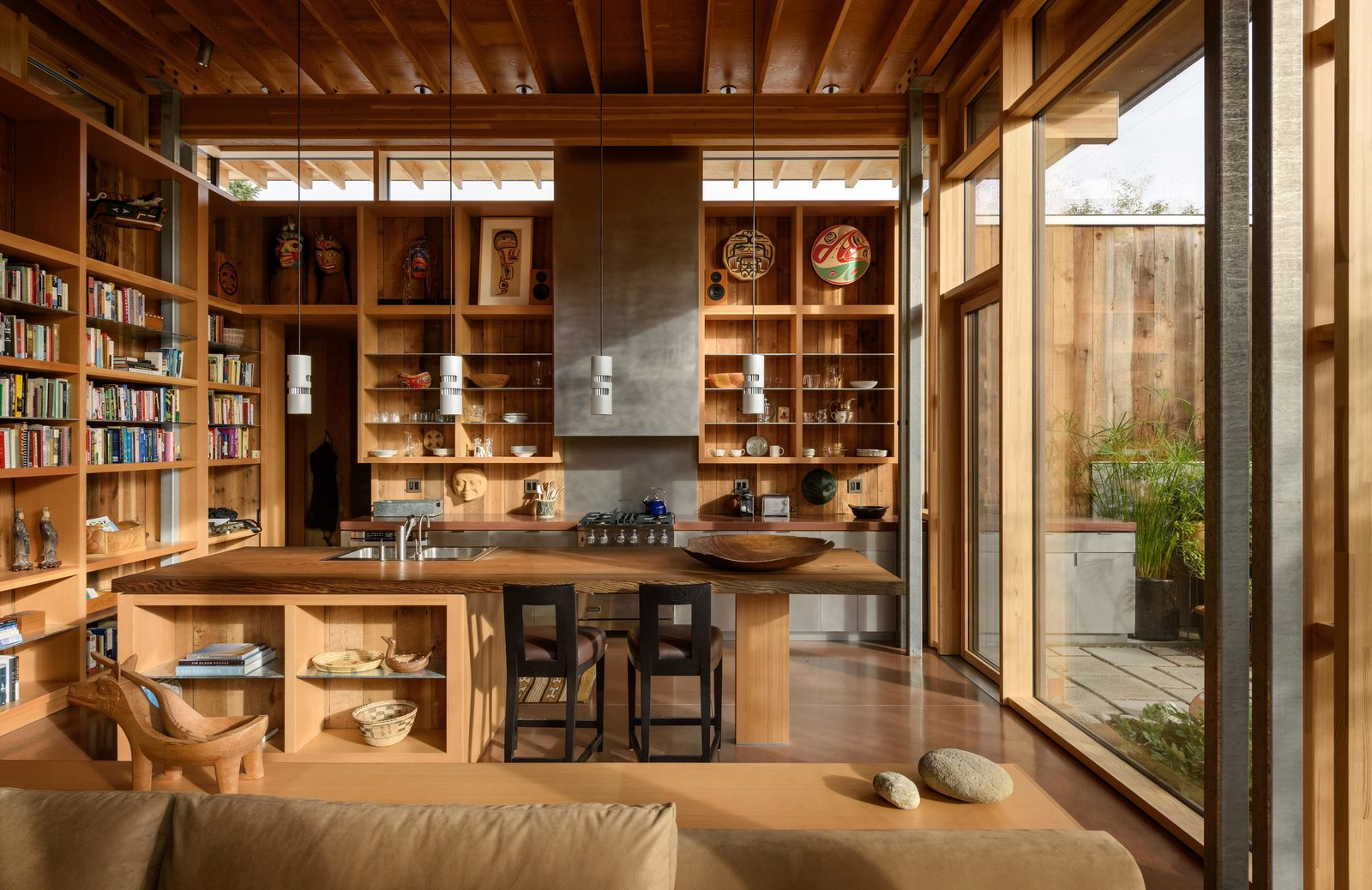 Kitchen, Wood Counter, and Granite Counter City Cabin | Olson Kundig  Photo 6 of 13 in Immersed in Nature, This City Cabin Targets Net-Zero Energy from City Cabin