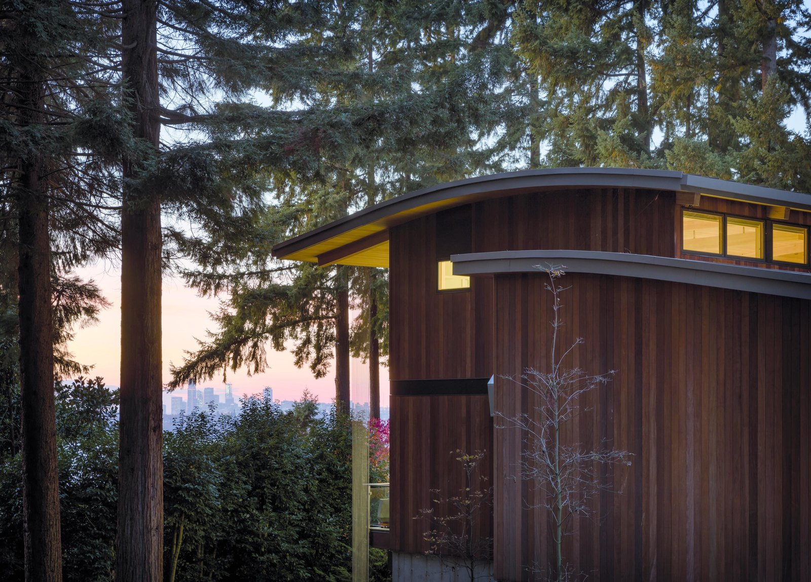 Exterior, Wood Siding Material, House Building Type, and Curved RoofLine Wave House | Olson Kundig  Wave House by Olson Kundig