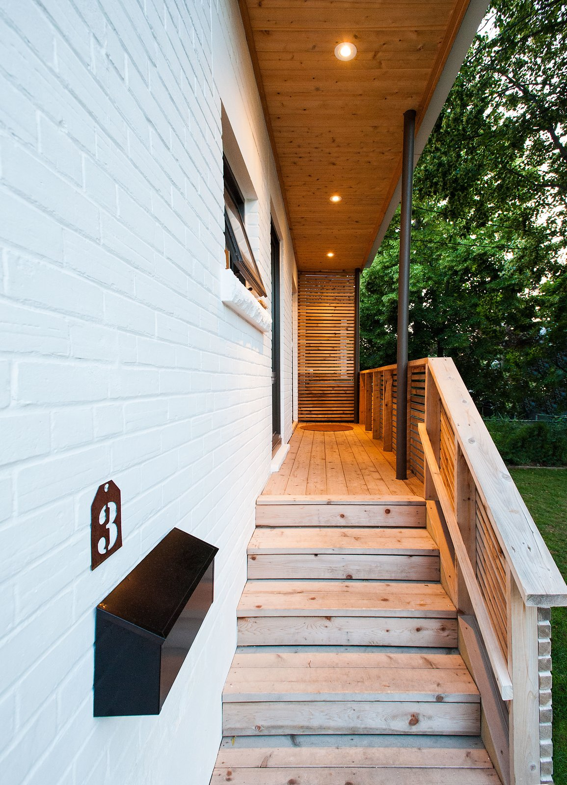 Outdoor, Horizontal Fences, Wall, Wood Fences, Wall, Front Yard, Wood Patio, Porch, Deck, and Small Patio, Porch, Deck Our House - Front Porch  Our House by Solares Architecture