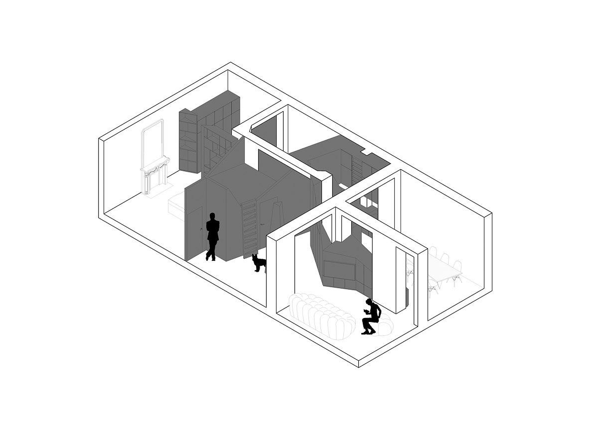 Axonometric  Apartment XIV by studio razavi architecture