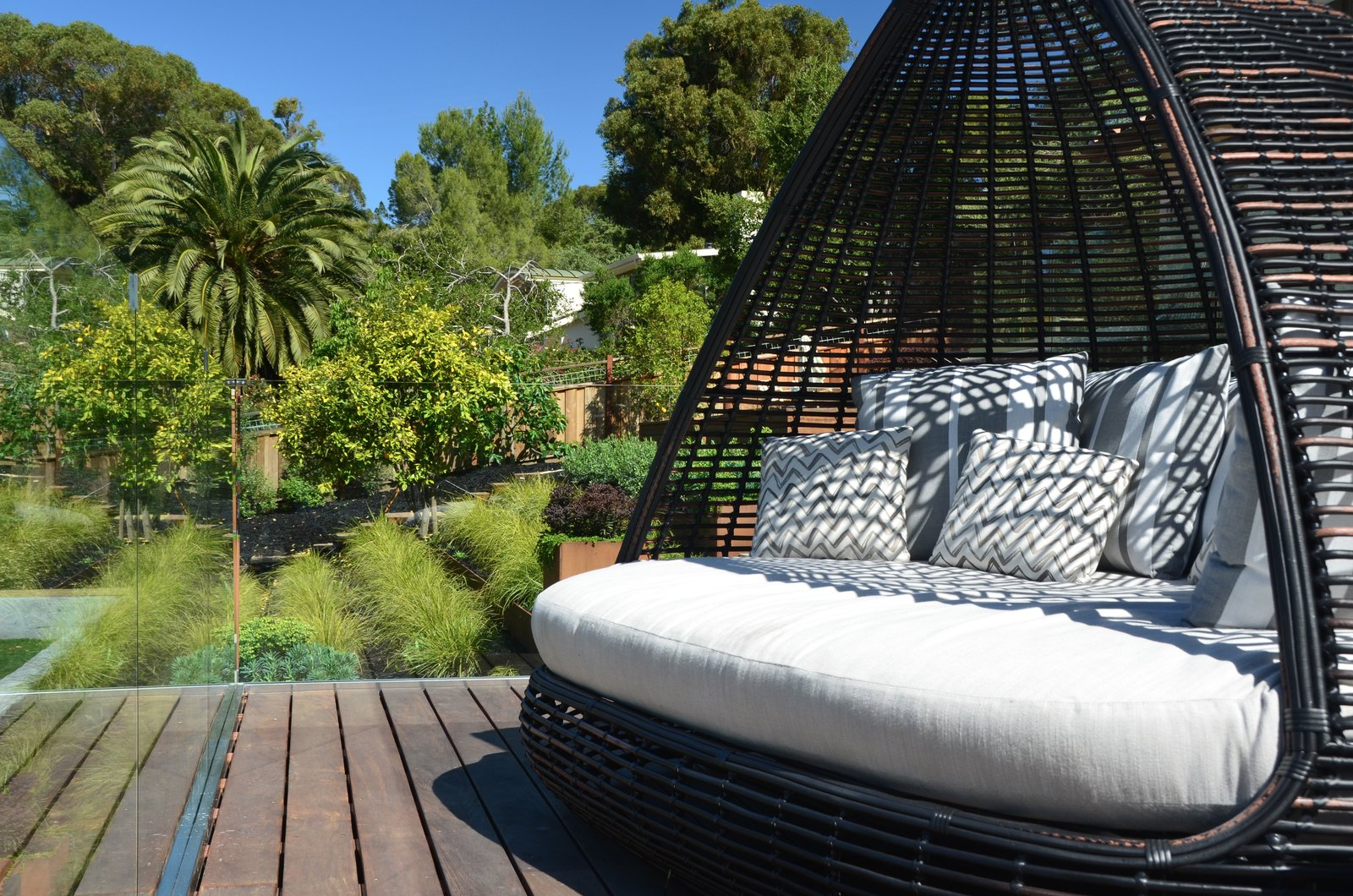 Deck Lounge Daybed  Los Altos Hills Landscape by Greenblott Design